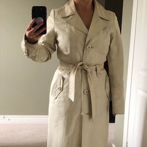 Danier off white colour leather trench coat